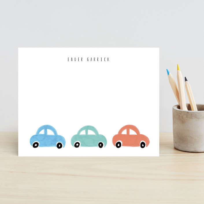 """Beep Beep"" - Children's Stationery in Rust by Angela Garrick."