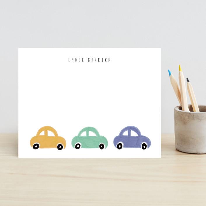 """""""Beep Beep"""" - Children's Stationery in Rust by Angela Garrick."""