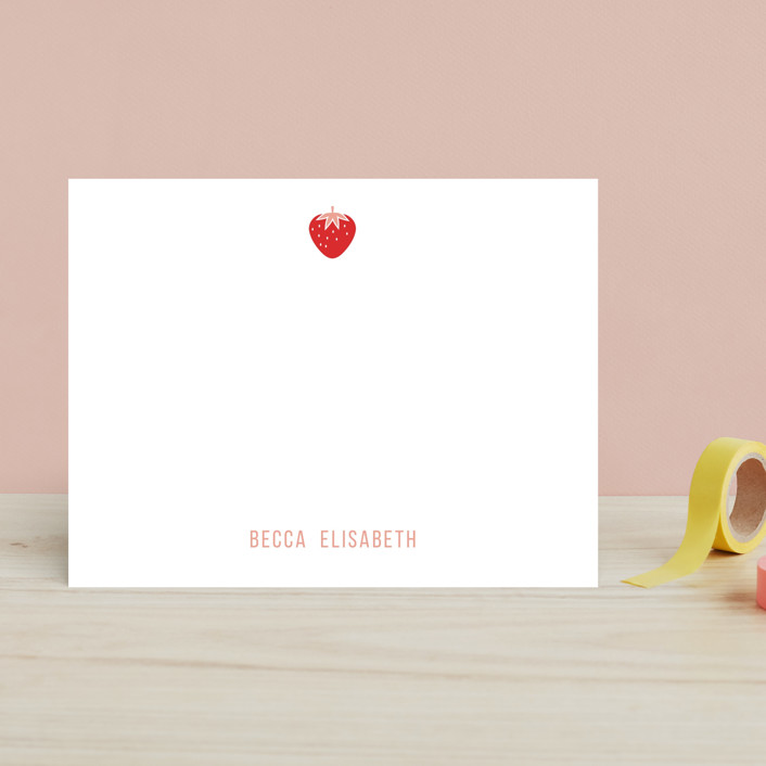 """Berry Sweet"" - Simple, Modern Children's Stationery in Blush by kelli hall."