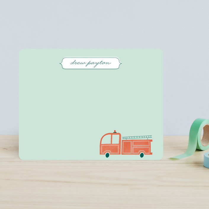 """""""Fire Engine"""" - Hand Drawn, Whimsical & Funny Children's Stationery in Celadon by Monica Tuazon."""