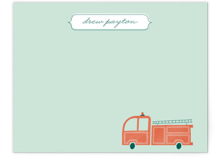 Fire Engine Children's Personalized Stationery