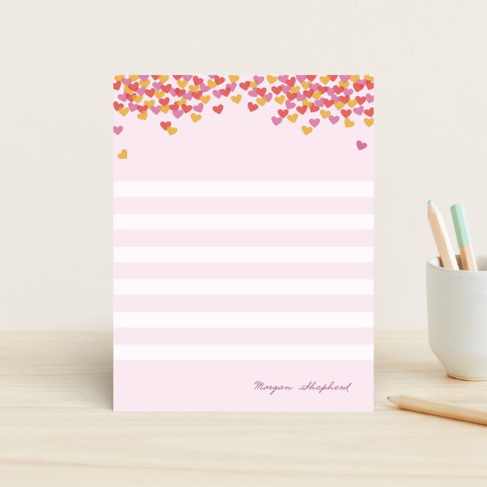 """Hearts Abound"" - Modern, Preppy Children's Stationery in Pastel Pink by nocciola design."