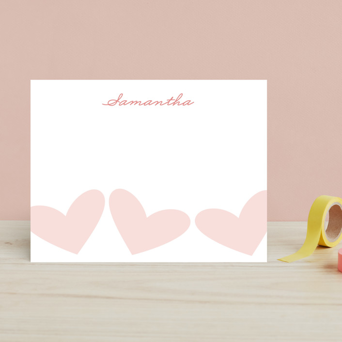 """Sweet Hearts"" - Classical, Simple Children's Stationery in Petal Pink by Alston Wise."