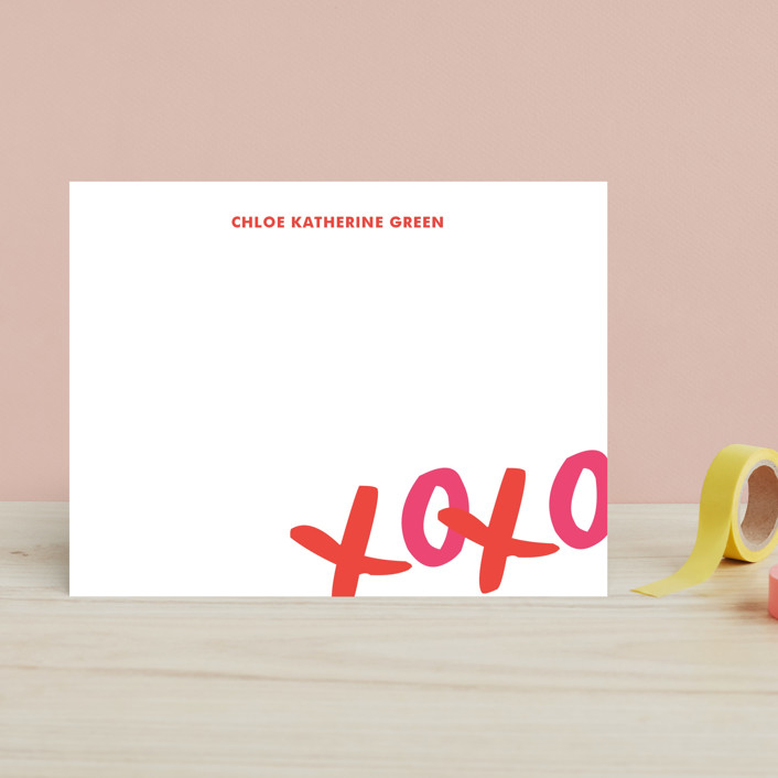 """XOXO"" - Bold typographic, Modern Children's Stationery in Bright Red by The Social Type."