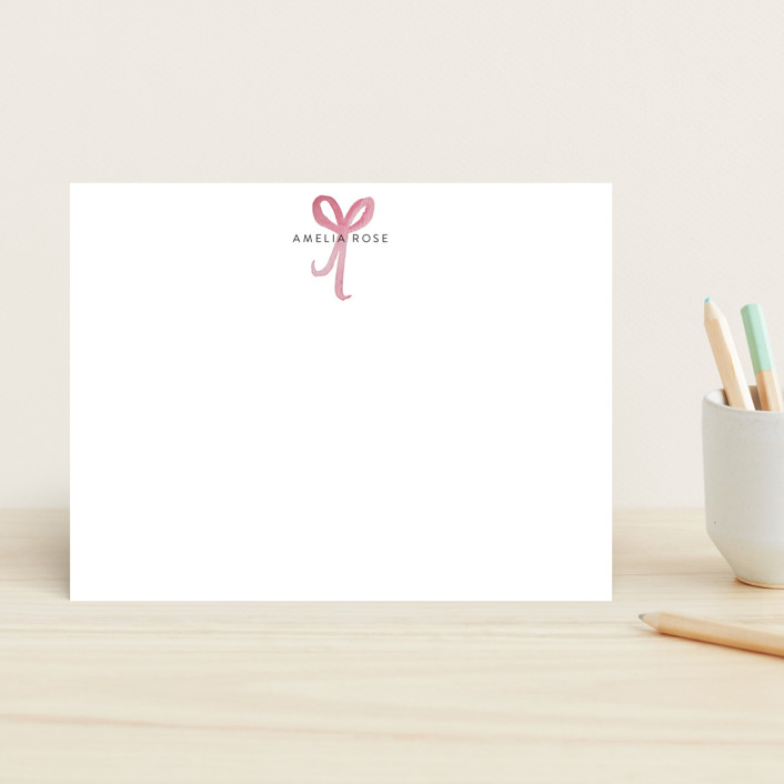 """""""Sweet as a Bow"""" - Children's Stationery in Blush by Nicoletta Savod."""