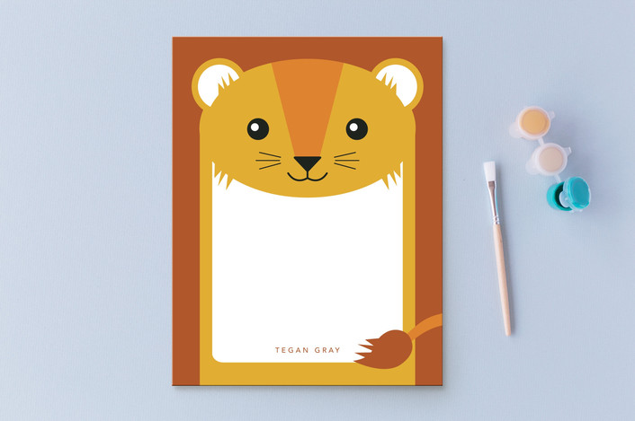"""Friendly Lion"" - Children's Stationery in Sunshine by Laura Hamm."