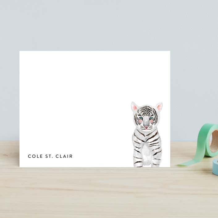 """Baby Animal Tiger"" - Modern, Whimsical & Funny Children's Stationery in Turquoise by Cass Loh."