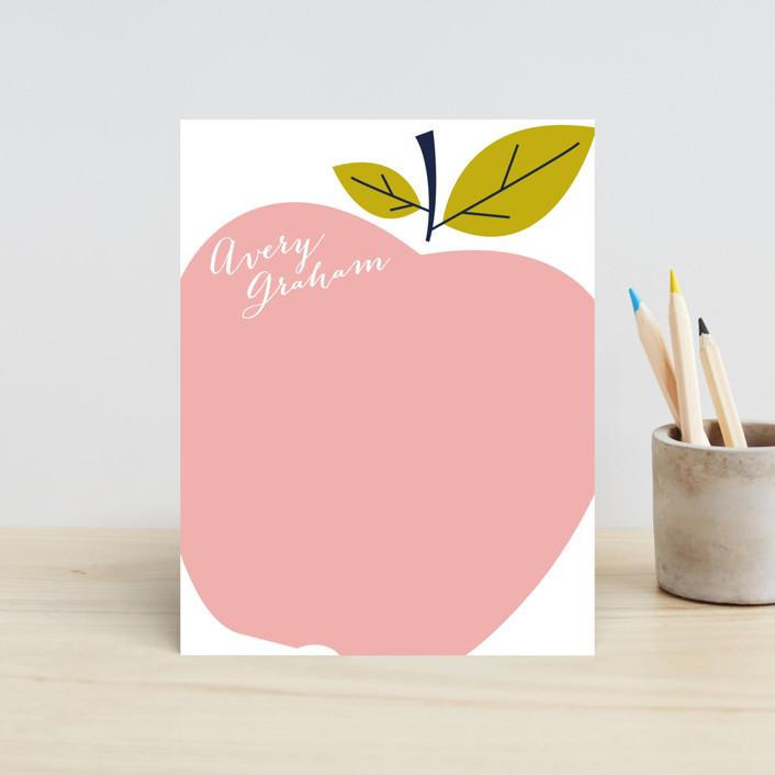 """Big Apple"" - Preppy Children's Stationery in Pink Lady by Oscar & Emma."
