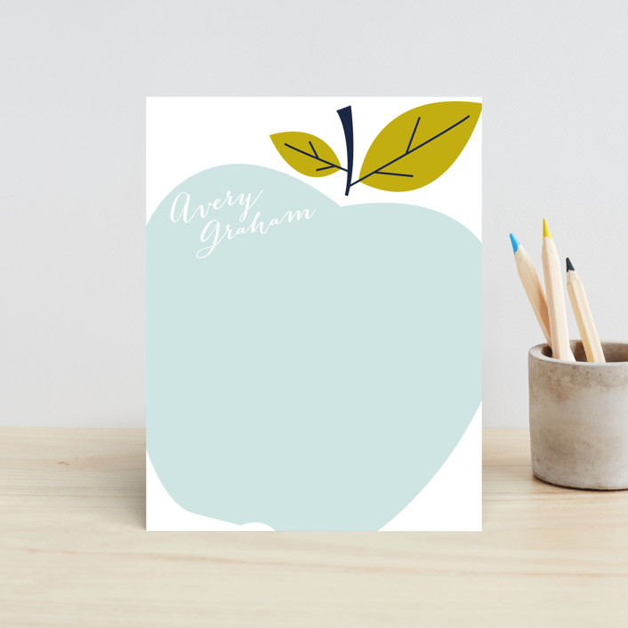 """""""Big Apple"""" - Preppy, Whimsical & Funny Children's Stationery in Pink Lady by Oscar & Emma."""