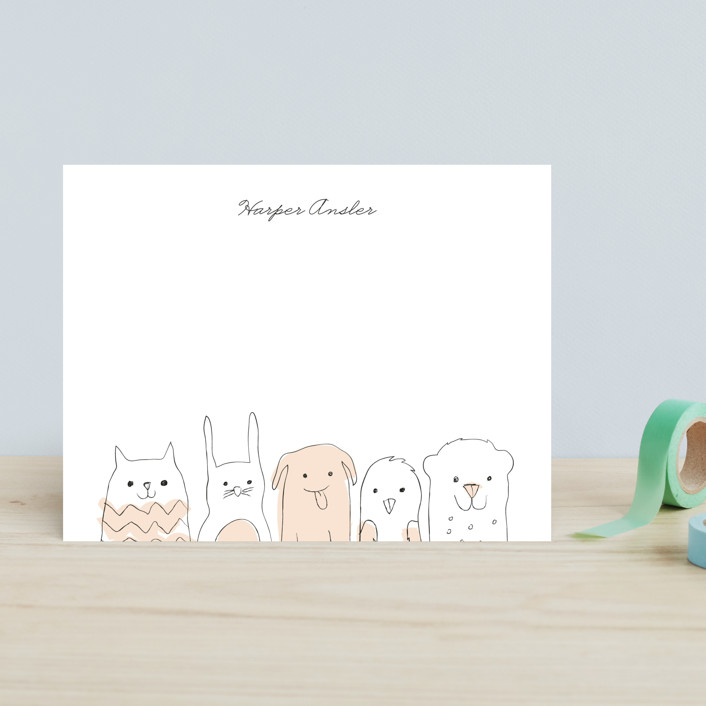 """Peanut Gallery"" - Hand Drawn, Whimsical & Funny Children's Stationery in Peach by Snow and Ivy."