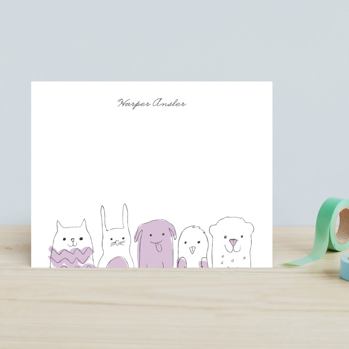 """""""Peanut Gallery"""" - Hand Drawn, Whimsical & Funny Children's Stationery in Peach by Snow and Ivy."""