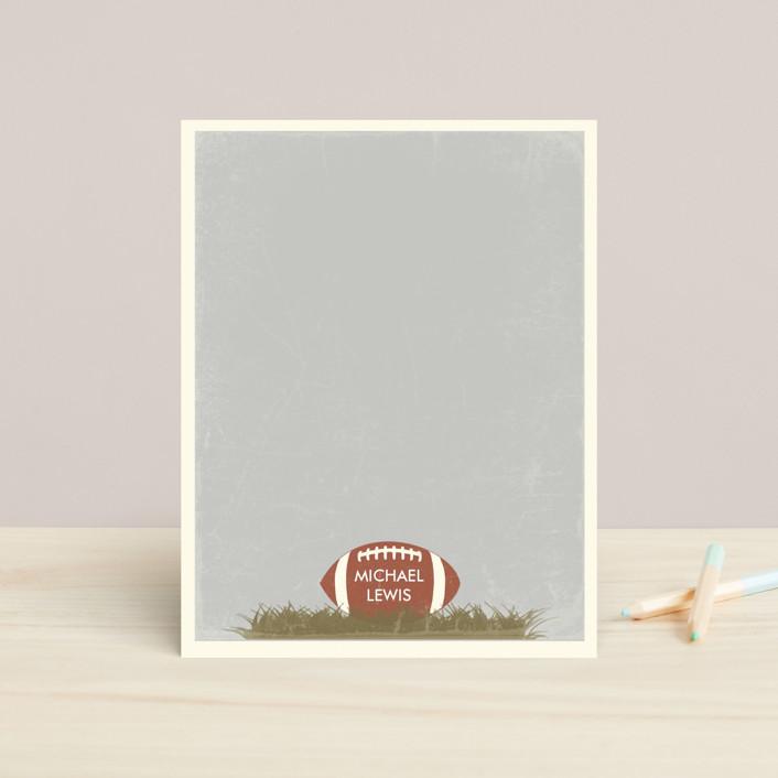 """Football"" - Preppy, Modern Children's Stationery in Slate by BeachPaperCo."