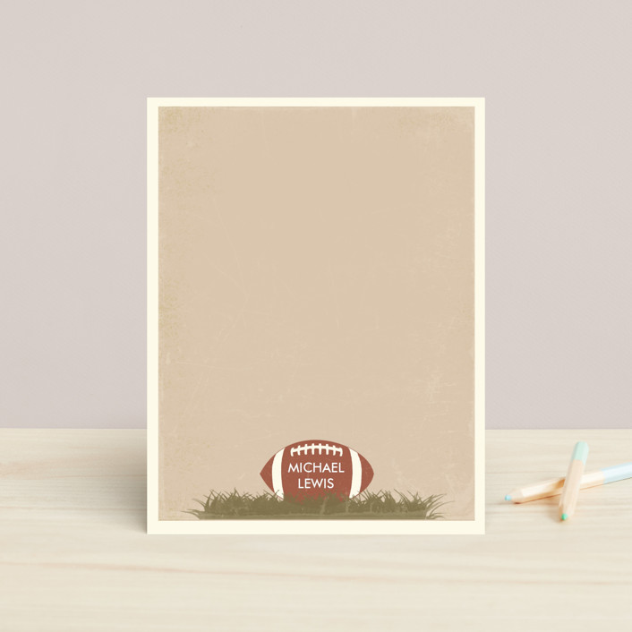 """Football"" - Preppy, Modern Children's Stationery in Slate by BeachPaperCo."