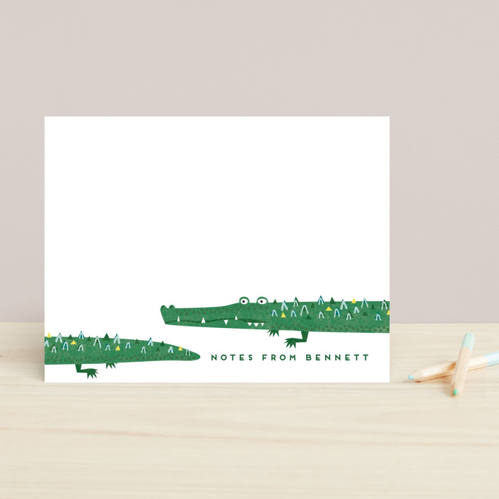 """Crocs"" - Whimsical & Funny Children's Stationery in Lizard by Erica Krystek."