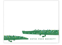 This is a green kids thank you cards note by Erica Krystek called Crocs with standard printing on signature in standard.