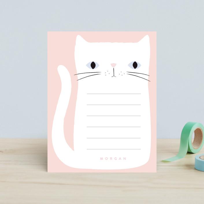 """Kitten"" - Children's Stationery in Rose by Angela Thompson."