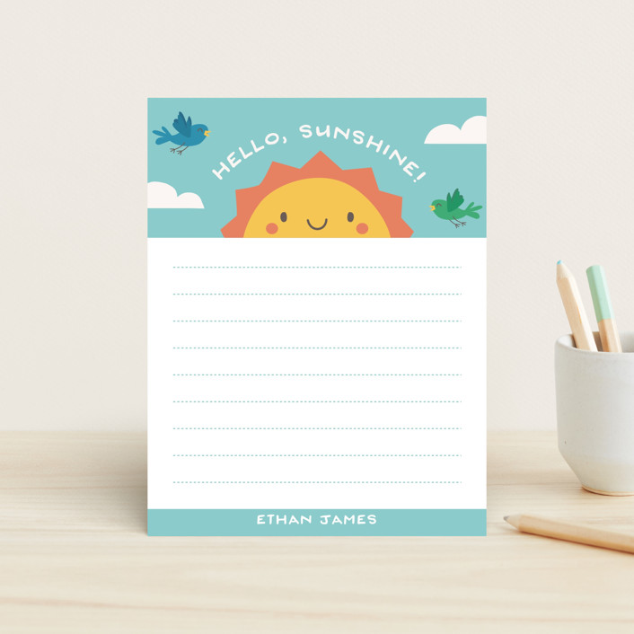 """Hello Sunshine"" - Whimsical & Funny Children's Stationery in Aqua Sky by Guess What Design Studio."
