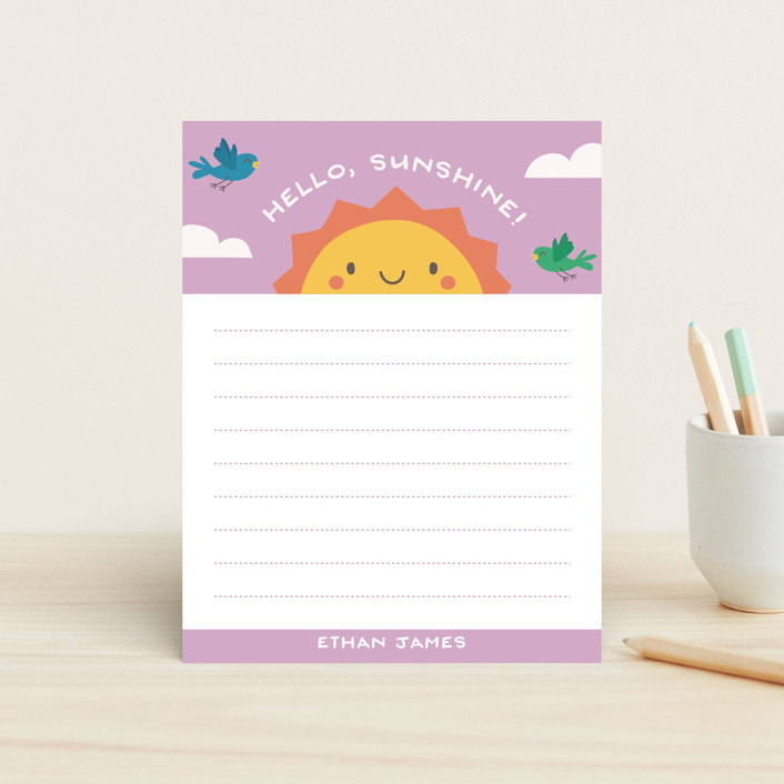 """Hello Sunshine"" - Children's Stationery in Aqua Sky by Guess What Design Studio."