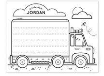 This is a black and white kids thank you cards note by Lorent and Leif called On the Road with standard printing on signature in standard.