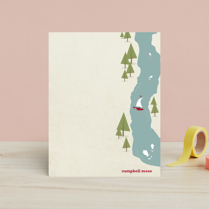"""""""Fish Tales & Campfires"""" - Hand Drawn, Rustic/Craft Children's Stationery in Taupe by AJCreative."""