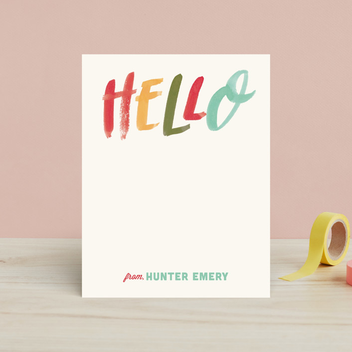 """Brush Script Hello"" - Bold typographic Children's Stationery in Popsicle by Wildfield Paper Co.."
