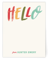 This is a red kids thank you cards note by Annie Mertlich called Brush Script Hello with standard printing on signature in standard.