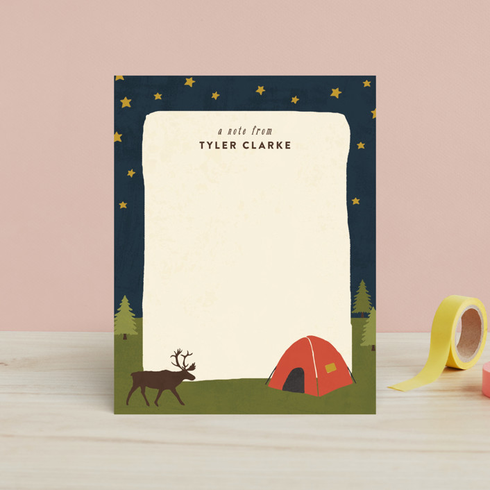 """""""Camping"""" - Hand Drawn, Rustic Children's Stationery in Tomato by August and Oak."""