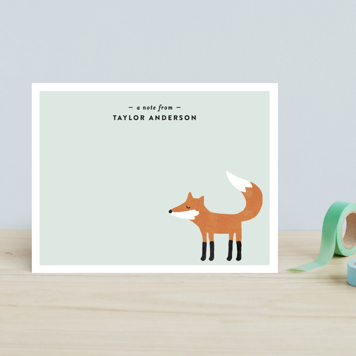 """Little Fox"" - Hand Drawn Children's Stationery in Robbin's Egg by August and Oak."