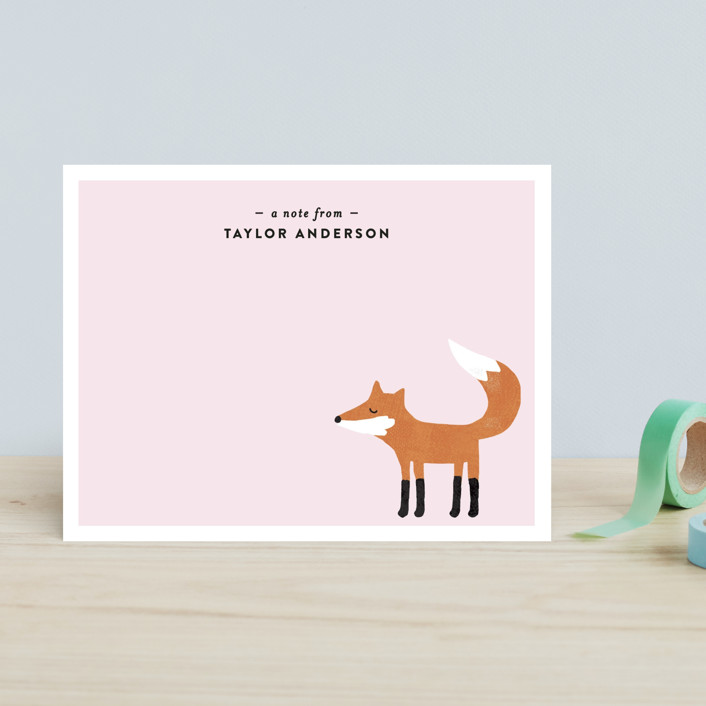 """""""Little Fox"""" - Hand Drawn, Whimsical & Funny Children's Stationery in Robbin's Egg by August and Oak."""