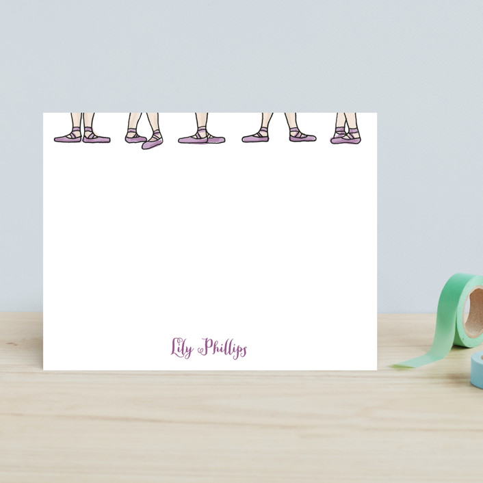 """""""On Pointe"""" - Simple, Simple Children's Stationery in Ballet Slipper by Shiny Penny Studio."""