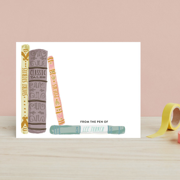 """Painted Book Spines"" - Hand Drawn, Vintage Children's Stationery in Sweet Coral by Shiny Penny Studio."