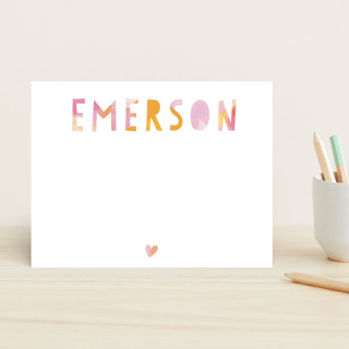 Painted Name Children's Stationery