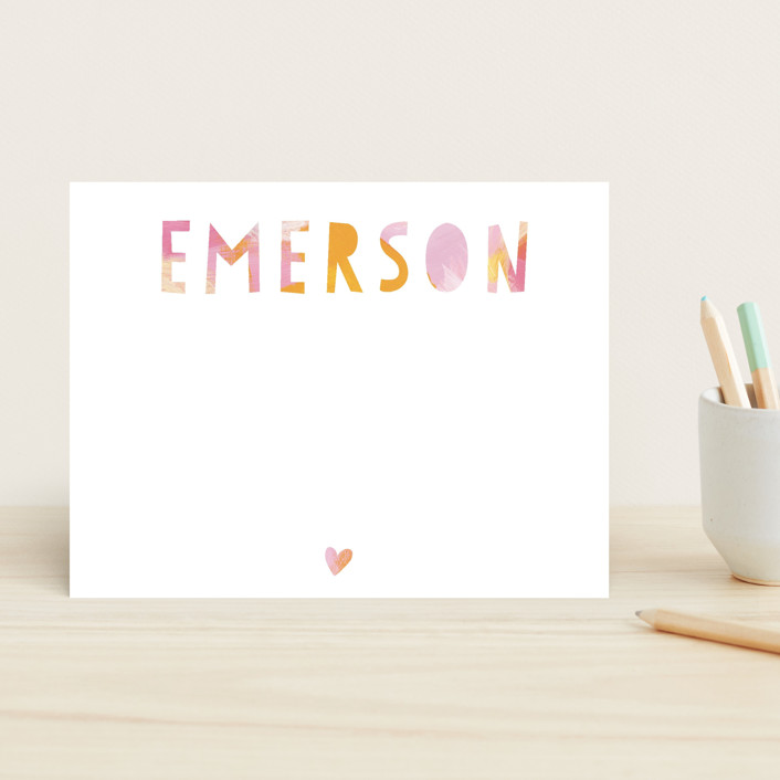 """""""Painted Name"""" - Simple, Bold typographic Children's Stationery in Tangerine by Melanie Severin."""