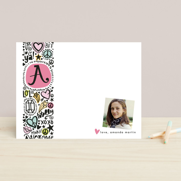 """Doodle Initial"" - Monogrammed, Hand Drawn Children's Stationery in Pastel Pink by Alethea and Ruth."