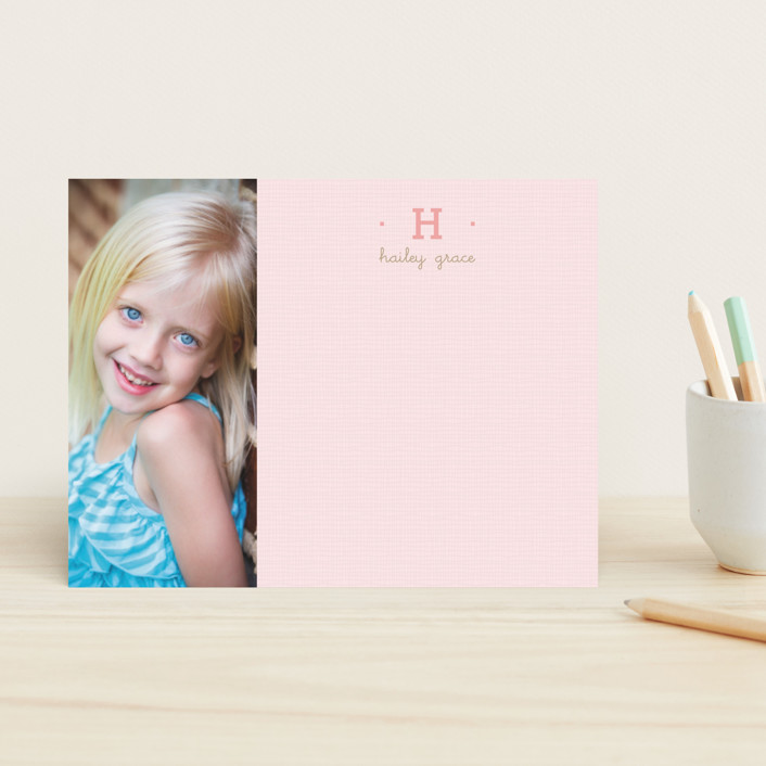 """Pretty in Pink"" - Simple, Minimalist Children's Stationery in Cotton Candy by Susan Brown."