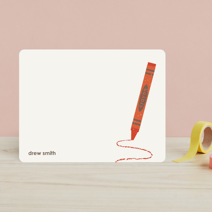 """Crayon"" - Simple Children's Stationery in Red Nectarine by Amber Barkley."