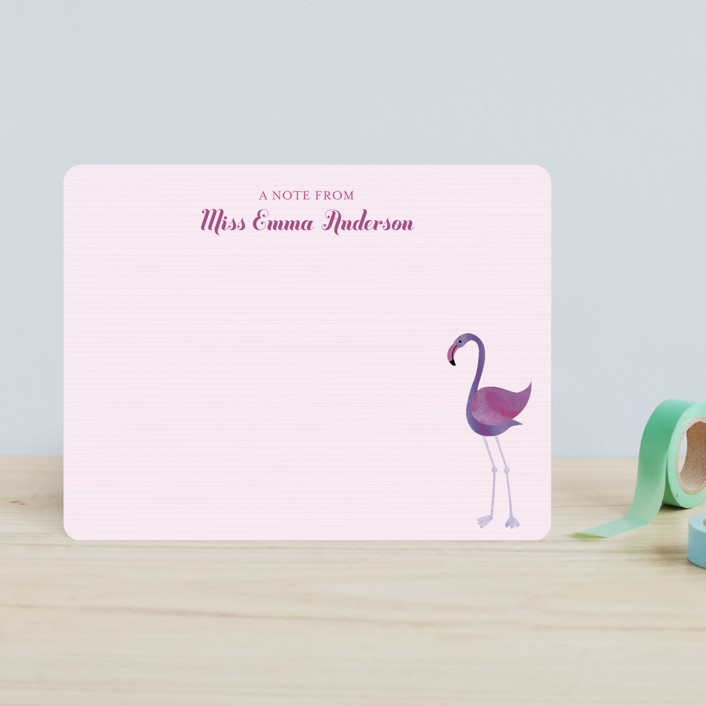 """""""Fancy Flamingo"""" - Preppy, Hand Drawn Children's Stationery in Cotton Candy by sweet street gals."""