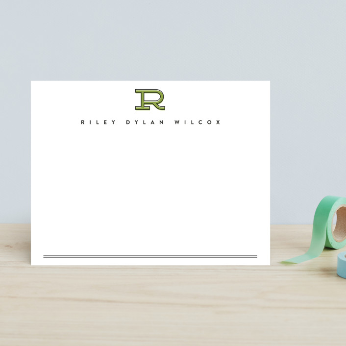 """""""Classic Initial"""" - Monogrammed, Simple Children's Stationery in Rust by Erica Krystek."""