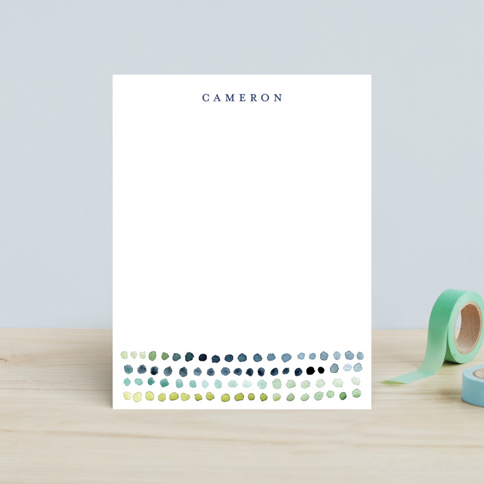 """""""Watercolor Dots"""" - Simple Children's Stationery in Navy by Loren Willis."""