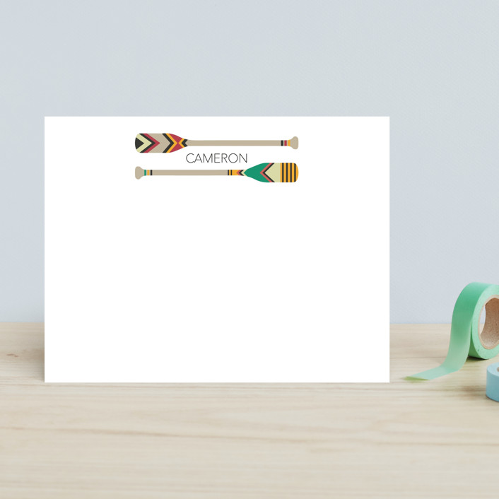 """""""Paddle Adventures"""" - Preppy Children's Stationery in Apricot by Rebecca Humphreys."""