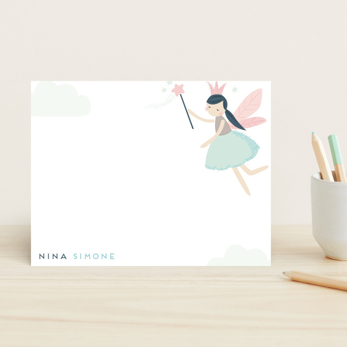 """""""fairy dream"""" - Whimsical & Funny Children's Stationery in Mint by peetie design."""