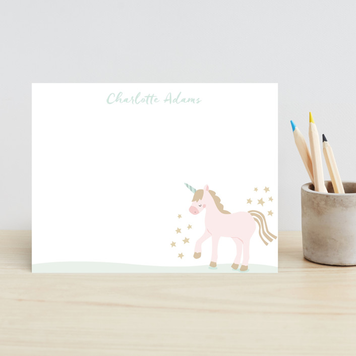 """""""mythical"""" - Whimsical & Funny Children's Stationery in Truffle by peetie design."""