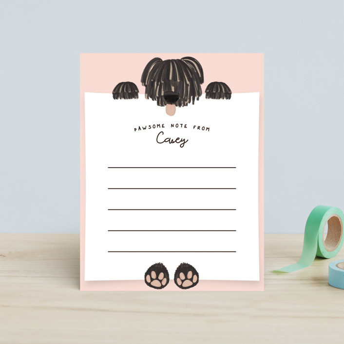 """Pawsome Note"" - Whimsical & Funny Children's Stationery in Blush by Gwen Bedat."