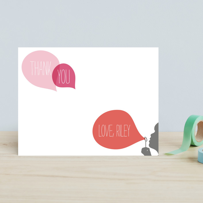 """Blowing Bubbles"" - Hand Drawn, Modern Children's Stationery in Orange Pink by Up Up Creative."