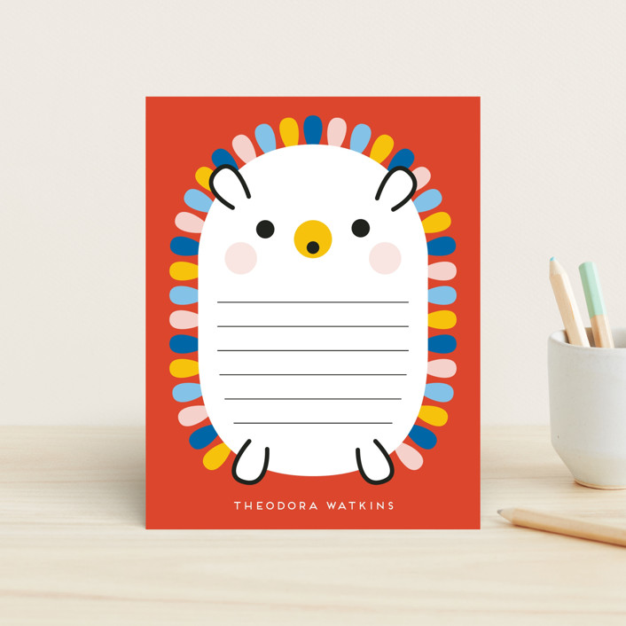 """""""Rainbow Hedgehog"""" - Whimsical & Funny Children's Stationery in Crimson by Genna Cowsert."""