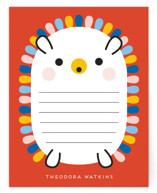 This is a orange kids thank you cards note by Genna Blackburn called Rainbow Hedgehog with standard printing on signature in standard.