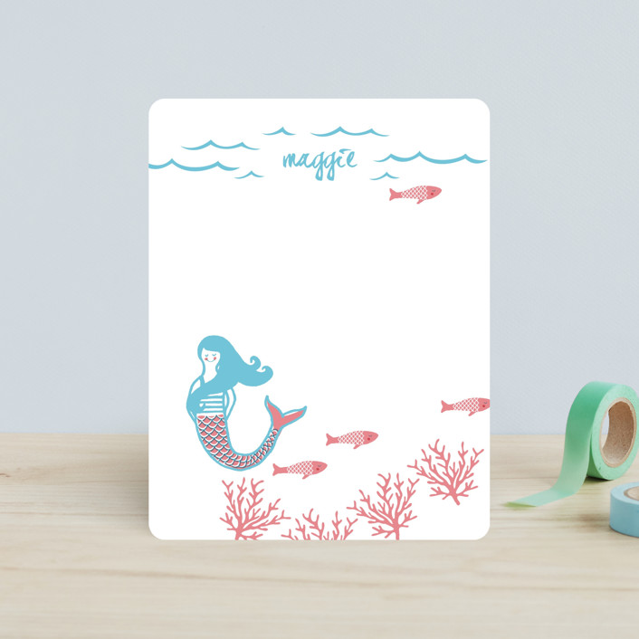 """""""Darling Mermaid"""" - Hand Drawn, Whimsical & Funny Children's Stationery in Bubblegum by Oscar and Emma - Karly Depew."""