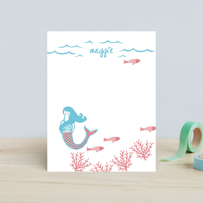 """Darling Mermaid"" - Hand Drawn, Whimsical & Funny Children's Stationery in Bubblegum by Oscar & Emma."