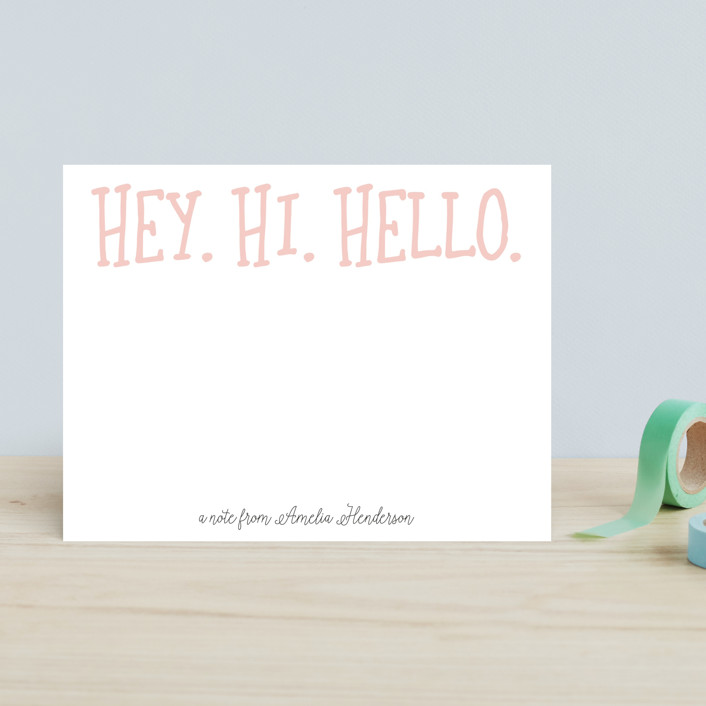 """Hey. Hi. Hello."" - Children's Stationery in Bubblegum by Ashlee Townsend."