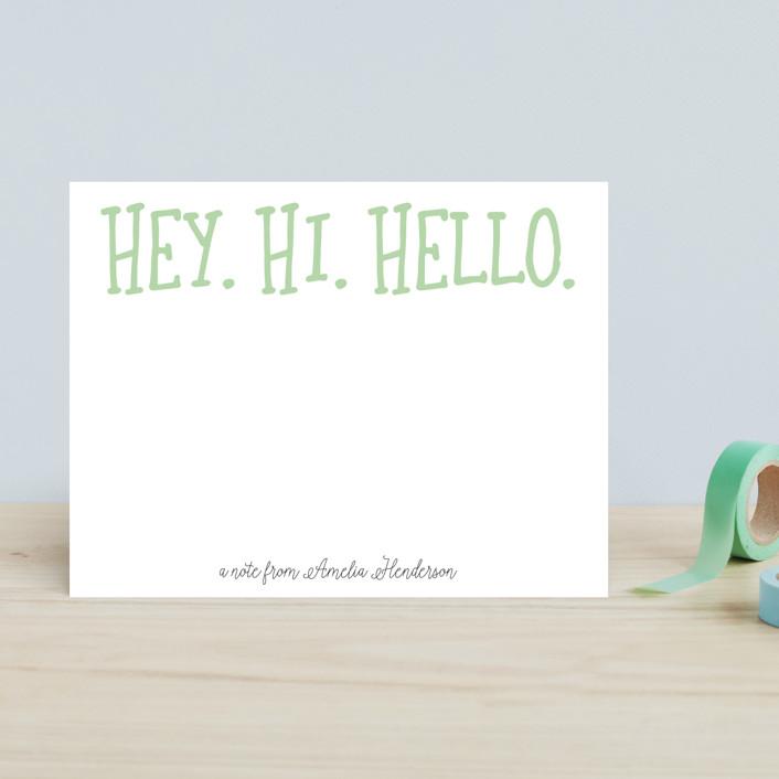 """""""Hey. Hi. Hello."""" - Children's Stationery in Bubblegum by Ashlee Townsend."""